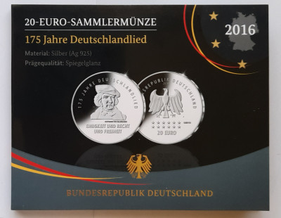 Moneda comemorativa de argint - 20 Euro 2016, Germania - Proof foto