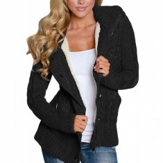 B736A-1 Cardigan cu gluga model tricotat
