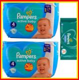 Pampers Scutece Nr 4 Active Baby Giant Pack, 9-14 kg, 152 Buc + Servetele Umede