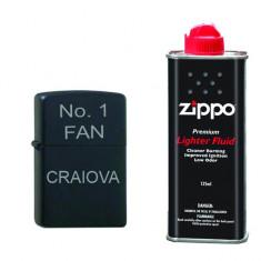 Bricheta neagra gravata No.1 FAN Craiova si lichid Zippo