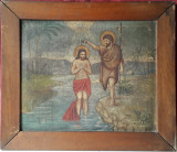 Botezul lui Isus, pictura veche ulei pe panza