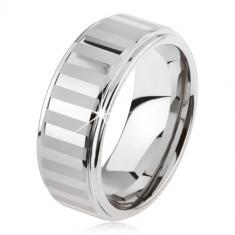 Inel tungsten argintiu, lucios şi cu dungi mate - Marime inel: 59