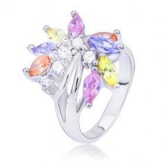 Inel argintiu cu evantai din zirconii colorate - Marime inel: 49