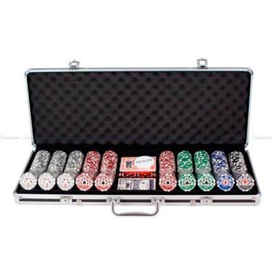 Set de poker Royal Flush, 500 de buc., 13,5g, cu valori mici foto