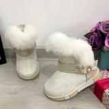 Cizme albe imblanite tip ugg cu catarama pt fete copii bebe 20