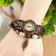 Ceas de dama Retro Vintage, curea din piele, accesoriu frunza, culoare Maro