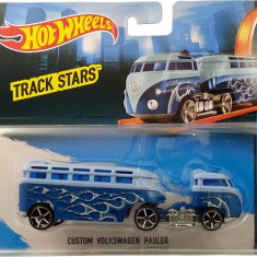 Jucarie Hot Wheels Track Stars Trailers Custom Volkswagen Hauler Blue, Mattel