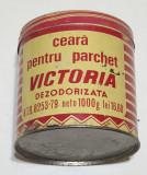 Cutie tabla reclama - veche comunista de colectie ceara pentru parchet VICTORIA