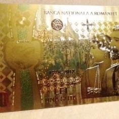 Bancnota 100 LEI Unire 2018 Centenar aur 24k gold UNC colectie