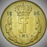 Moneda 5 FRANCI - LUXEMBURG, anul 1986  *cod 1808 - excelenta!