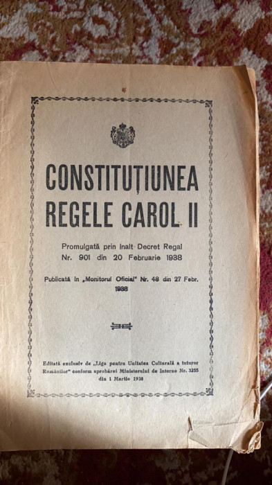 constitutiunea regele carol al II lea,promulgata prin inalt decret regal,nr.901