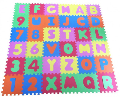 Covor puzzle din spuma Alphabet and Numbers 36 piese foto