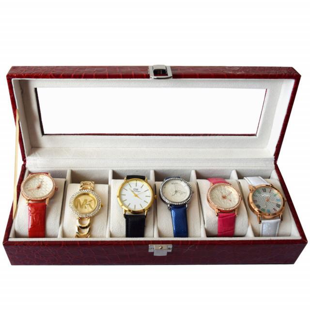 Pachet! Caseta eleganta depozitare cu compartimente pentru 6 ceasuri, imprimeu crocodil rosu + 6 ceasuri de dama