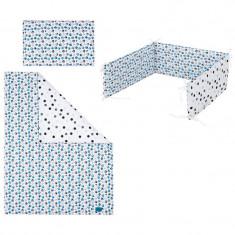 Set lenjerie de pat 3 piese pentru bebelusi 120 x 90 cm Kociaki P01-632, Multicolor