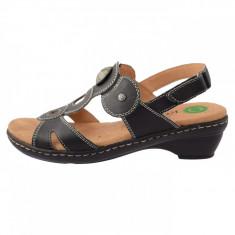 Sandale dama, din piele naturala, Reflexan, 54405-1, negru