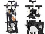 Ansamblu de joaca pentru pisici, cu 2 casute, Plus, 170 cm, Negru, Malatec