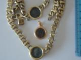 Set Colier, bratara si pandant argint aurite -8001