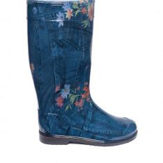Cizme de cauciuc imprimeu JEANS cu elemente florale pentru dame, OLDCOM