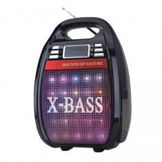 Boxa portabila karaoke X-Bass Golon, 2000 W PMPO, acumulator, telecomanda