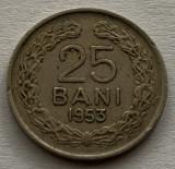 25 Bani 1953 Cu-Ni, Romania, VF, RARA!, Cupru-Nichel