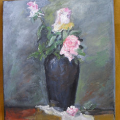 Trandafiri in vaza 2-pictura ulei pe panza