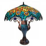 Veioza cu baza din polirasina maro si abajur din sticla Tiffany Ø 56x68 cm Elegant DecoLux, Clayre & Eef