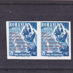 EXIL,ROMANIA-SPANIA,ANUL REFUGIATILOR,NED. IN PERECHE,1959,MNH ROMANIA.
