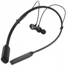 Casti sport bluetooth tip colier, suport flexibil, magnet, microfon stereo IPX4, HWS610