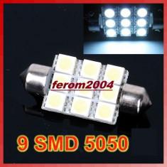 Led bec C5W FESTOON SOFIT 9 SMD 5050 36 mm de culoare alb