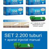 2.200 tuburi de tigari cu filtru alb, Senator Popular 4 x 550 + injector manual