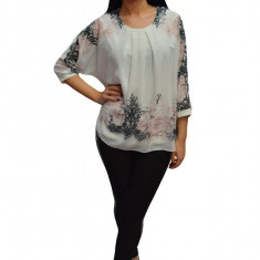 Bluza eleganta tip voal cu captuseala usor elastica,masura mare nuanta de alb