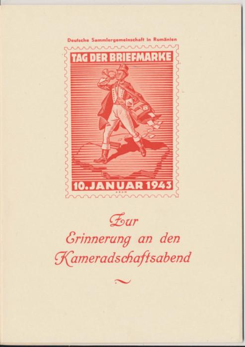 1943 Romania Germania carton special dublu carte postala Ziua Timbrului Sibiu