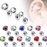 Piercing pentru ureche din oţel, zirconiu colorat într-o montură rotundă, 5 mm - Culoare zirconiu piercing: Negru - K