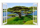 Sticker decorativ, Fereastra 3D, Copac, 85 cm, 266STK