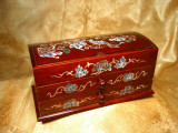 Cutie bijuterii Laque de Chine insertie abalone colectie vintage