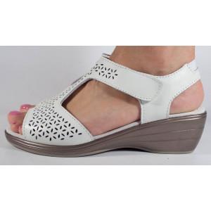 Sandale platforma albe piele naturala (cod B812470)