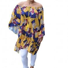 Bluza vaporoasa Maya cu imprimeu flowert si volanase pe fond multicolor, 50, 52, 54, 56, 58
