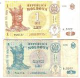 SV * Moldova / Basarabia LOT 1 LEU (VF+) si 5 LEI (VG) 2006
