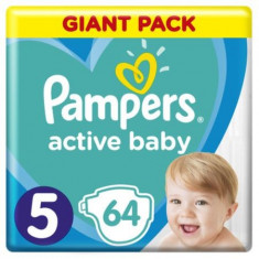 Scutece Pampers Active Baby, Giant Pack, 5 junior, 11-18 kg, 64 buc.