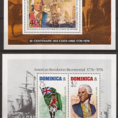 CIAD,DOMINICA REVOLUTIA U.S.A. ( 2 colite dantelate ) MNH