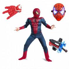 Set costum Spiderman cu muschi Infinity War manusa cu discuri lansator si masca plastic M 5 7 ani