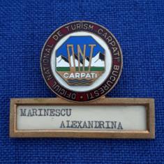 Insigna ONT Carpati - Turism - cu serie - ecuson - Bucuresti