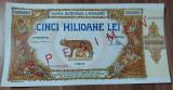 REPRODUCERE  bancnota specimen 5 milion 1947-  Romania