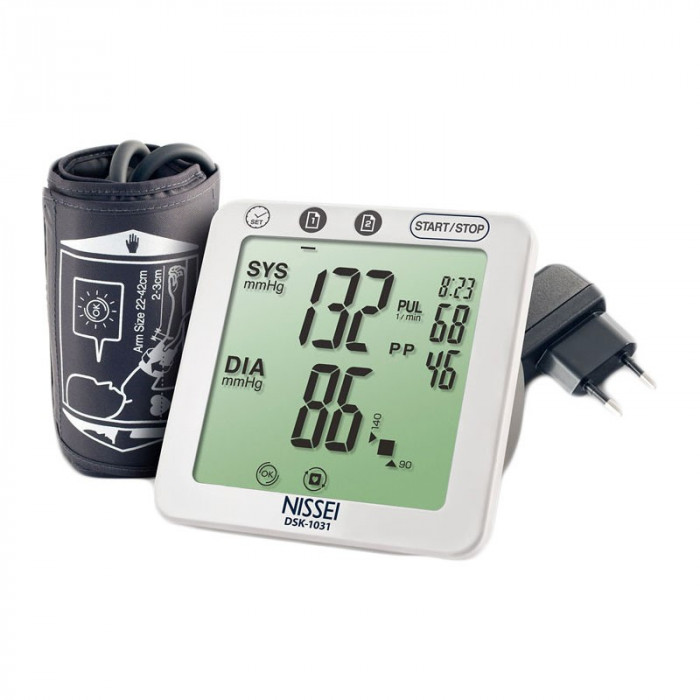 Tensiometru electronic de brat Nissei DSK-1031, memorare 60 seturi, LCD, detectie aritmie si body motion