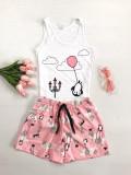 Cumpara ieftin Pijama dama ieftina bumbac scurta cu maieu alb si pantaloni scurti roz cu imprimeu Balon