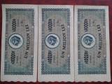 1947-1 milion lei-3 bancnote serii consecutive-Z0797-45 la47-stare buna-RARE