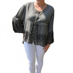 Bluza lejera Carina cu insertii de dantela, nuanta de gri, 50, 52, 54, 56, 58