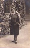 B2474 Doamna cu guler din blana de vulpe 1930 Buzias poza veche
