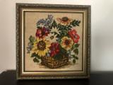 Goblen vechi german,vaza cu flori