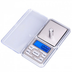 Mini cantar electronic de buzunar pentru bijuterii cu afisaj LCD, capacitate pana la 500g